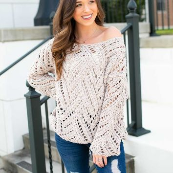 Touch the Sky Open Knit Sweater in Nude