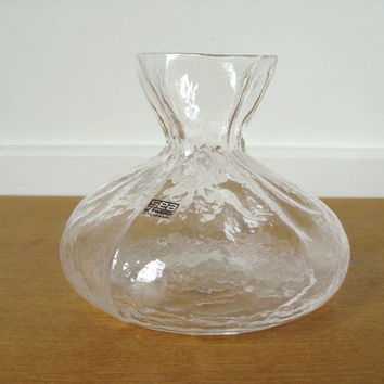 Rune Strand Sea of Sweden handmade glass bag vase or decanter