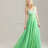 A-line Sweetheart Long Green Beading Prom Dress