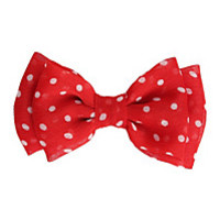 Red & White Polka Dot Chiffon Hair Bow