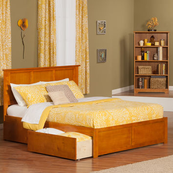 Madison Queen Bed w/ Flat Panel Footboard & 2 Drawers Caramel Latte
