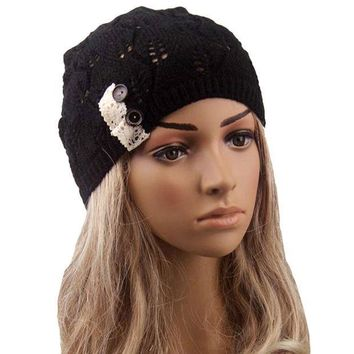 CREYL Feitong New 2016 Winter Hat For Women Leaves solid color Button Hollow Out knitted Hat Cap Female Fashion Skullies Bonnet femme