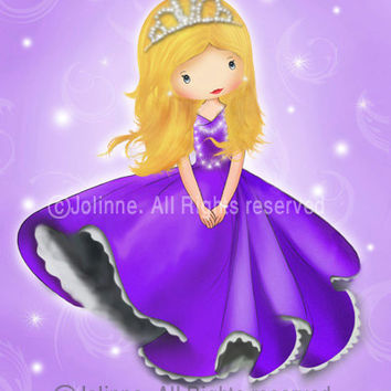 Princess art print poster, girls room art, nursery wall art , baby room decor, children wall hanging, purple