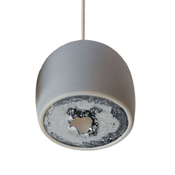 LED Geode Leafed Gem & Porcelain Mini Matte Grey Clay Pendant Light