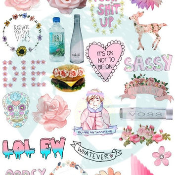 Set #25. Tumblr Stickers. Stickers. Set of stickers. Decals