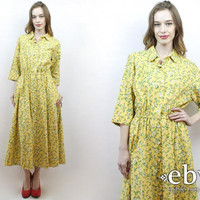 Vintage Yellow Floral Dress S M L XL Yellow Dress Modest Dress 1980s Dress 80s Dress 50s Dress Daisies Dress Midi Dress Floral Maxi Dress