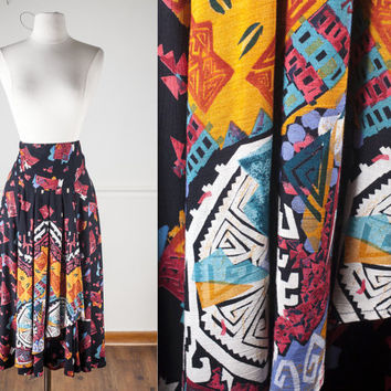 Southwest Print Skirt | Vintage 80s Skirt High Waisted Skirt Maxi Skirt Southwestern Ethnic Tribal Boho Chic Festival Native American Aztec