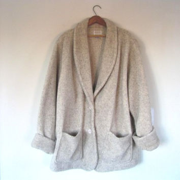 90s oversized oatmeal fleece blanket coat // women's size 2x