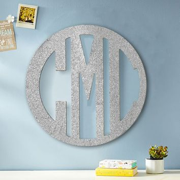Glitter Wooden Cut-Out Block Monogram