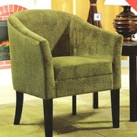 A.M.B. Furniture & Design :: Living room furniture :: Accent chairs :: Pistachio colored embossed microvelvet upholstered tight curved barrel back accent side chair with wood legs
