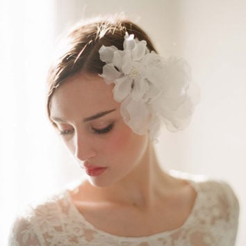 Bridal silk hair flowers - Double sheer silk organza flower comb - Style 206 - Ready to Ship