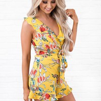 With Or Without You Printed Romper (Yellow)