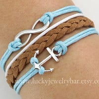Bracelet-anchor bracelet, infinitywish bracelet,braid leather bracelet, wax cords bracelet, SALE