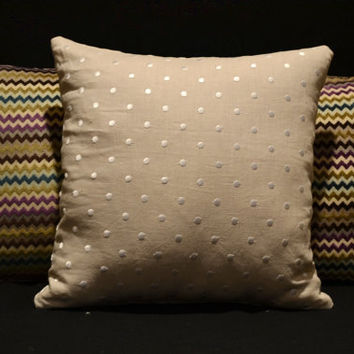 Decorative throw pillow cover  18x18 Linen tan pillow with white stitched dots accent pillow