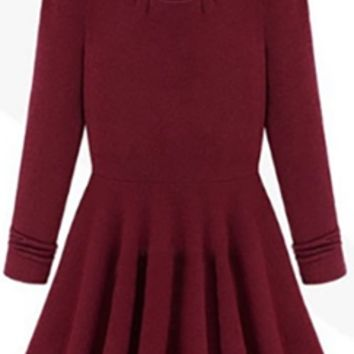 Burgundy Wine Long Sleeve Pleated Flowy Cotton Knit Mini Dress