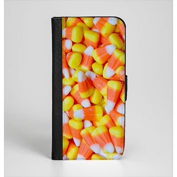 The Candy Corn Ink-Fuzed Leather Folding Wallet Case for the iPhone 6/6s, 6/6s Plus, 5/5s and 5c