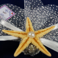 Beach wedding starfish lavender sachet favors / designed with white organza ribbon pearl / bridal shower / baby shower / Custom listing (50)