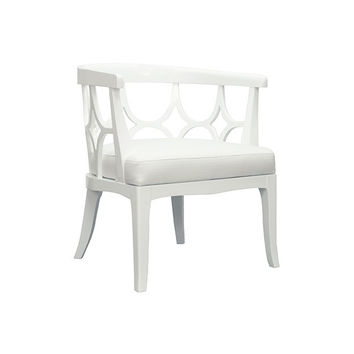 Campbell Barrel Back Lacquer Chair    White