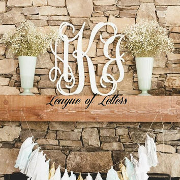 SALE 14 inch Wooden Monogram Letters, Home Decor, Housewarming Gift, Gift for Her, Wood Monogram