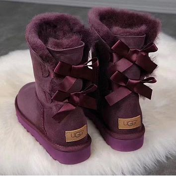 UGG : Winter Women Men Girls Boys Large Bowknot Tie Keep Warm Snow Boots Shoes Purple I/A