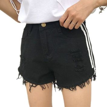 LOSSKY Fashion Hole Summer Women Denim Shorts 2018 Casual Pocket Cuffed Denim Shorts For Women Street Wear  Short Jeans Feminino