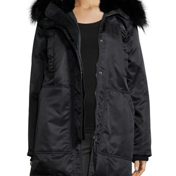 Theory Fabunni Bomber Tech Coat W/Fur Trim