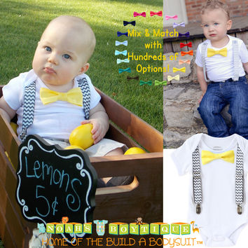 Grey Chevron and Yellow Baby Boy Outfit Suspenders Bow Tie