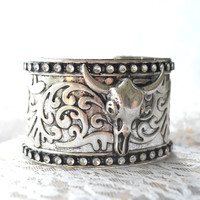 Gypsy cow skull bracelet, Bohemian cowgirl jewelry, Junk Gypsies cow skull, Boho chic women's jewelry,  True rebel clothing