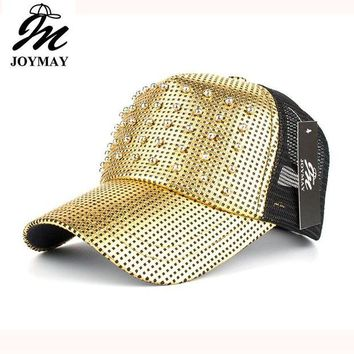 DCCKU62 Joymay Spring New Women Metal color Mesh Baseball cap With Beads Pin up Adjustable Fashion Leisure Casual Snapback HAT B428