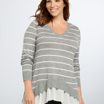 Striped Chiffon Layered Sweater