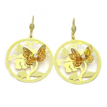 Gold Layered 5.093.004 Dangle Earring, Butterfly and Flower Design, with White Cubic Zirconia, Diamond Cutting Finish, Gold Tone
