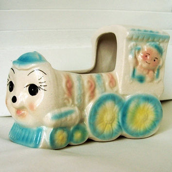 Vintage Ceramic Baby Train Planter