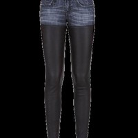 Skinny Denim and PU Leather Pants