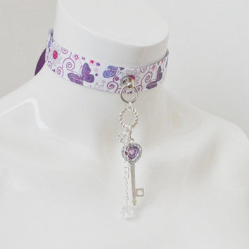 Kitten play collar - Key to the fairyland - ddlg princess cute kawaii bdsm proof neko fairy girl lolita choker - white pink and violet