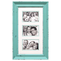 9 X 17-in Aqua Wood Collage Frame