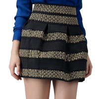 Black High Waist Bead Striped Skirt