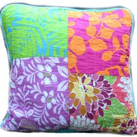 Tache 2 Piece Cotton Colorful Flower Power Party Patchwork Cushion Throw Pillow Cover (FloralPatchwork-CC)