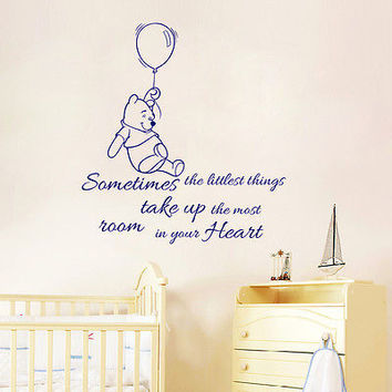 Winnie the Pooh Wall Decal Sometimes The Littlest Things Nursery Decor DS445