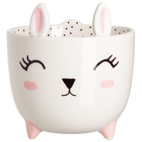 Small stoneware plant pot - White/Rabbit - Home All | H&M US