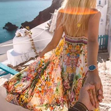 Yellow Tribal Print Draped Spaghetti Strap High-Low Flowy Las Vegas Bohemian Maxi Dress