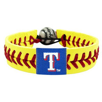 MLB Texas Rangers Neon Yellow Team Color Baseball Bracelet