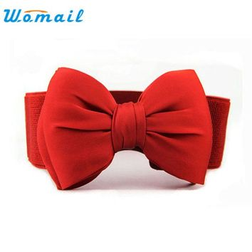 LMF9GW Amazing Fashion Women Belts Bowknot Elastic Wide Stretch Buckle Waistband Waist Belt