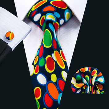 New Arrival Fashion Colorful Cotton Ties For Men High Quality Necktie Handky Cuff links Set For Wedding Party