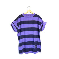 80s striped tshirt oversize basic boxy Long tee Black Purple shirt 1980s cotton striped top mens Large tomboy shirt
