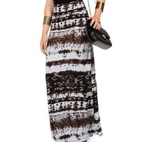 Sky Blue/Brown Tie Dye Maxi Skirt