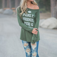 The 4 F's Long Sleeved Football Top (Olive)