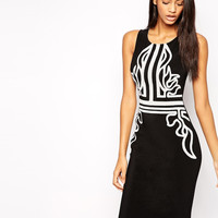 Black with White Print Sleeveless Pencil Dress