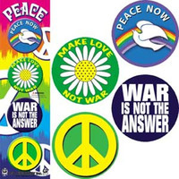 Peace Four Button Pin Set Make Love Not War