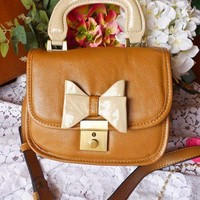 Bow-tiful Leather Bag in Chocolate - Goods - Retro, Indie and Unique Fashion
