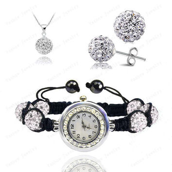 Crystal Watch Sets Pendant+Bracelet+Earrings Crystal Jewelry Watch Sets Micro Pave Disco 10mm Beads Crystal Watch Sets SHSE-019